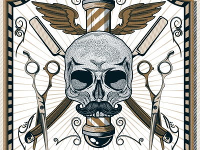 Barber Shop Poster vintage lines points illustration shop barber skull