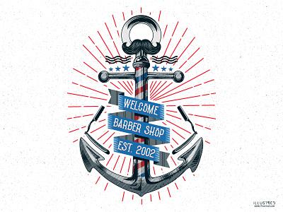 Barbershop Anchor typography marine sailor vintage illustration captain anchor