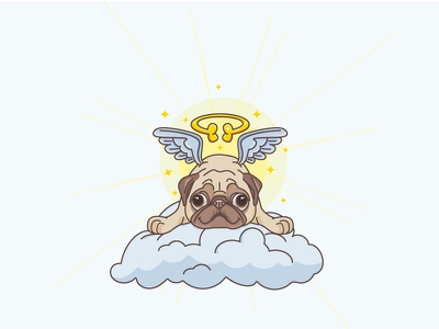 Angel Pug flat outline mascot illustration wings gift angel animal dog