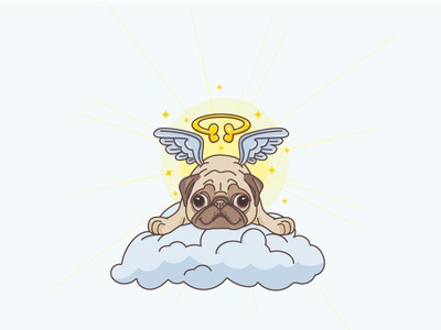 Angel Pug flat outline mascot illustration wings gift angel animal dog