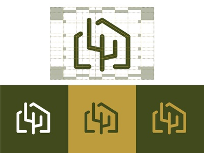 Logo Design Construction for inCactus real estate cactus mark logo lines guidelines design construction brandmark