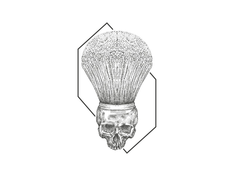 Skull Barber Brush vector inkart brush barbershop scribble sketch art dotwork inktober pointilism illustration