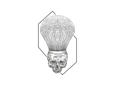Skull Barber Brush vector inkart brush barbershop scribble sketch art dotwork inktober pointilism illustration