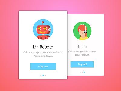 Agent Profile Cards agent linda robot ux ui cards profile