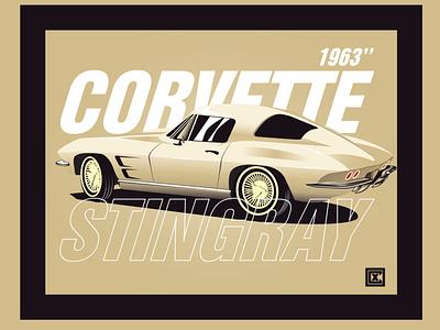 1963 Stingray Corvette monochrome vehicle graphic design vector illustration