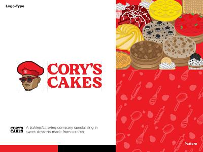 Cory Cakes identity branding icon vector design cartoon logo illustration brand