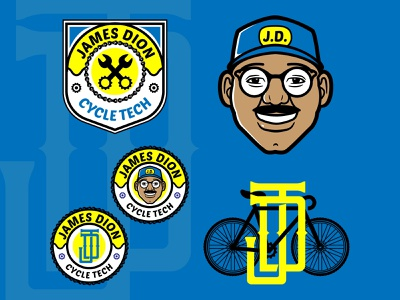 James Dion Cycle Tech patch design bicycle shop monogram icon badge typography mascot cartoon vector design logo illustration brand