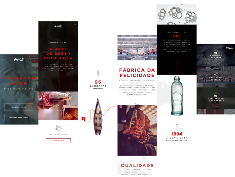 Coca-Cola Mobile landing page interface white black coca-cola lettering art flat minimal website typography web branding ui design