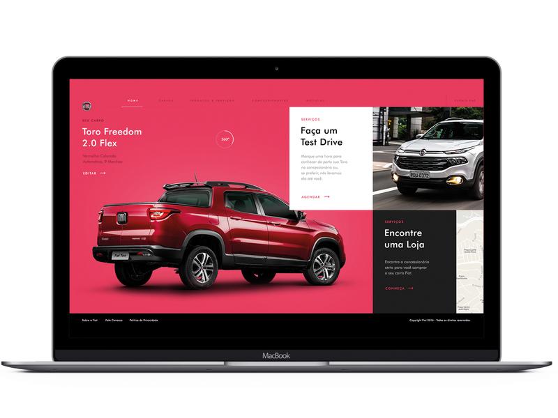 Fiat concept grey pink red homepage ux ui website web typography minimal flat design