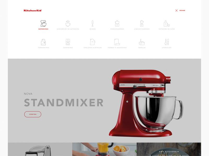Kitchen Aid Menu icons shop ecommerce kitchenware kitchen app interface branding website web ui typography minimal flat design