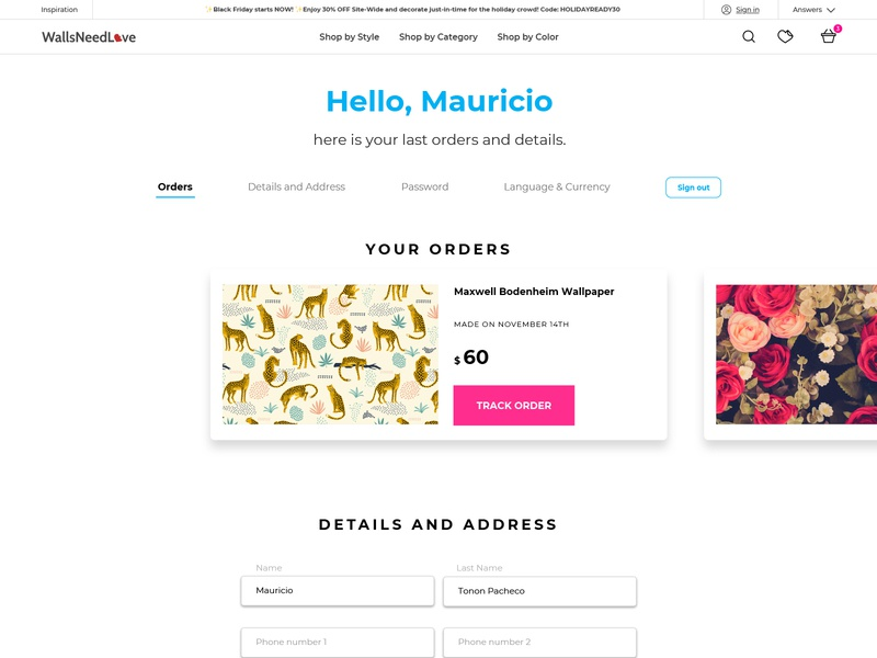 WNL Account page ecommerce shop orders profile account wallpaper branding ux website web interface ui minimal flat design