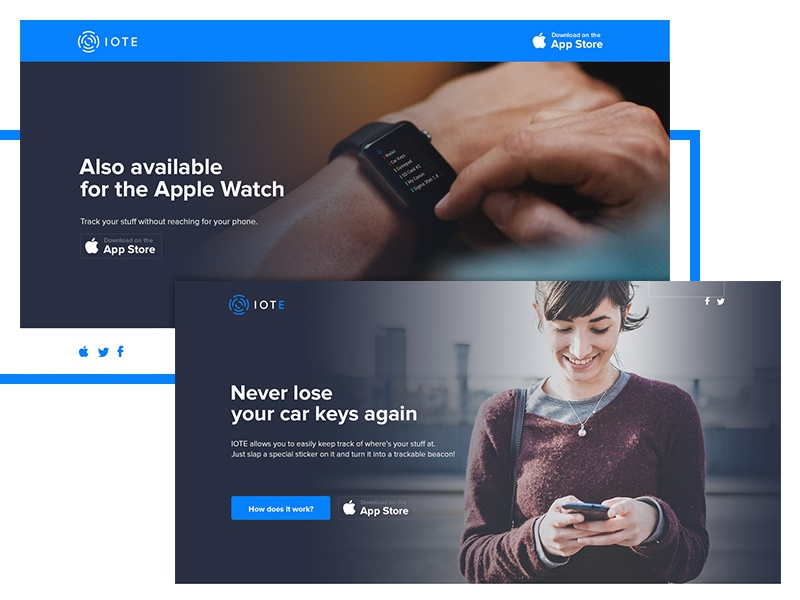 IOTE landing page flat landing page conversion blue iot internet of things apple watch hero web startup tech
