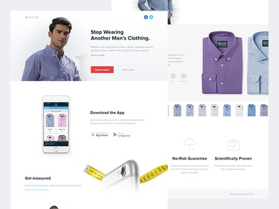 MTailor home page startup fashion ecommerce shirt clean light conversion landing page flat