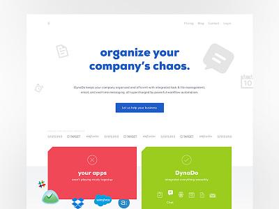 Dynado: product landing page b2b clean flat landing page startup saas