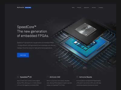 FPGA corporate site processor semiconductor startup tech flat landing page website corporate