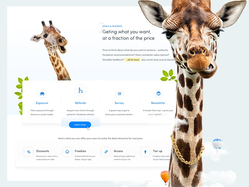 Girafi – it's time to grow big ecommerce web app startup clean landing page long necks