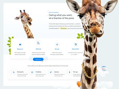 Girafi – it's time to grow big ecommerce web app startup clean landing page long necks