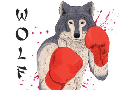 Wolf-Boxer wolf animal illustration digital art design shirt design apparel