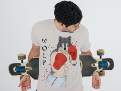 Wolf-Boxer on Cloth concept apparel digital drawing illustration design mockup shirt