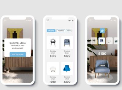 AR Furniture Store ar app ios 10 design app branding ux design ui