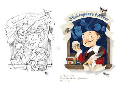 Shakespeare forever❤! website illustration illustraor web design