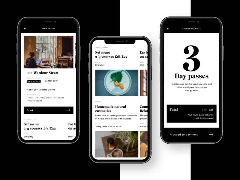 Workplace booking app Workroom black and white minimalistic ux ui booking app workplace coworking booking design app design