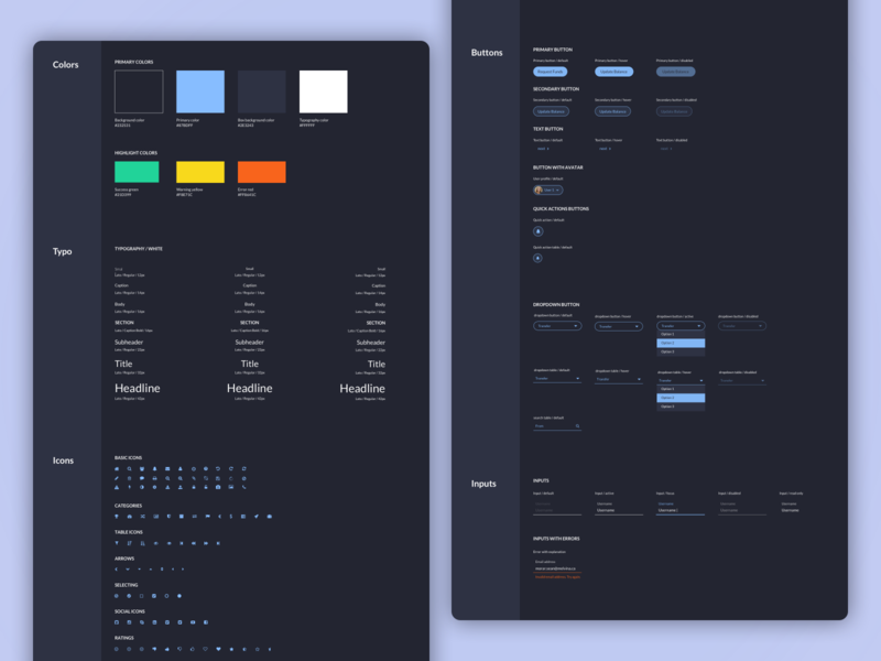Dark UI style guide design system ux ui dashboard ui elements buttons icons inputs typogaphy colors styles library dark theme dark app dark ui style guide