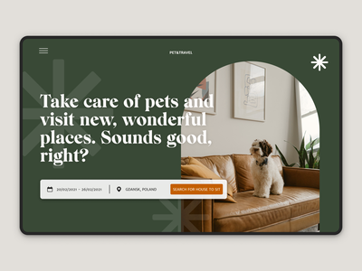 Landing page for pet sitting marketplace / hero section hero section uidesign typography flat booking green colors ux landing page ui design