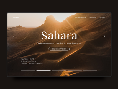 Travel agency sahara landing page 30daysofwebdesign hero typography photography colors hero section app design landing page ui design