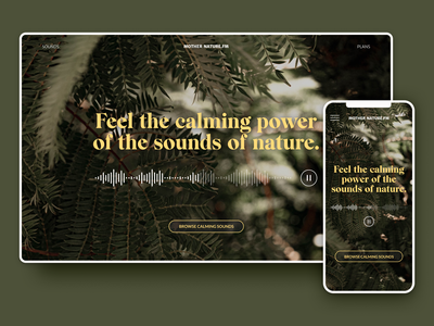 sounds of nature music playlist landing page mobile uxdesign uidesign responsive image colors typography branding hero hero section ux 30daysofwebdesign landing page ui design