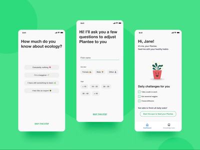 Eco habit tracker mobile app onboarding 🌿 personalisation onboarding questionnaire simple minimalist uiux uidesign green lifestyle ecology habit tracker habits application app design design ui