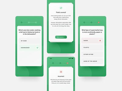 Ecological quiz eco habit tracker mobile app 🌱 mobile design uidesign uxui habit tracker minimalist green ecology mobile app app design ui design answers questions quiz app quiz