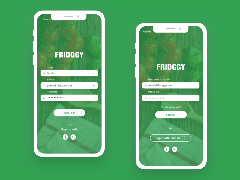Sign Up and Sign In Food App Fridggy sign up sign in recipe app dailyui 001 daily 100 daily 100 challenge calories counter food fridge app design