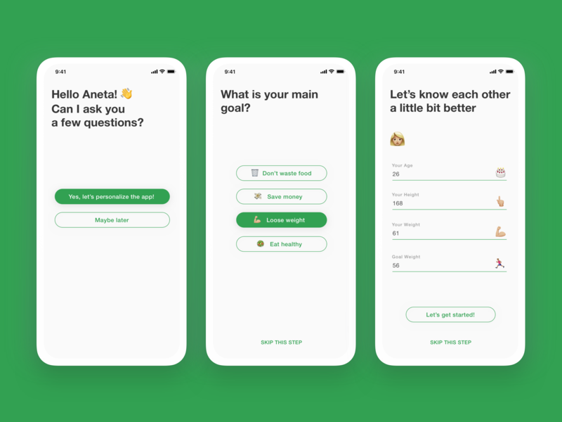 User Onboarding with Personalization daily 100 challenge fridge recipe app personalization onboarding dailyui 023 app design food food app