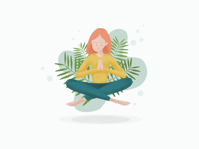 Meditation plants girl character girl illustration affinity designer apple pencil ipad vector illustration meditation yoga illustation vector