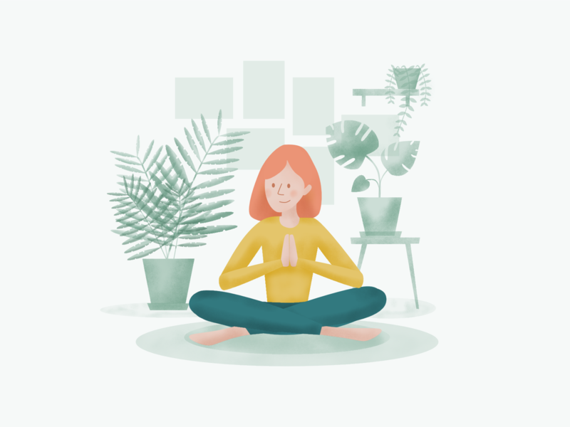 Try To Focus girl illustration girl character meditation plants flat  design affinity designer apple pencil ipad illustration ipad vector illustration illuatration