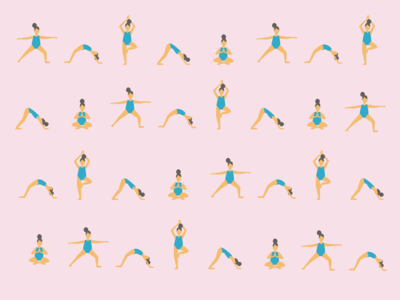 Yoga girl flat illustration pattern