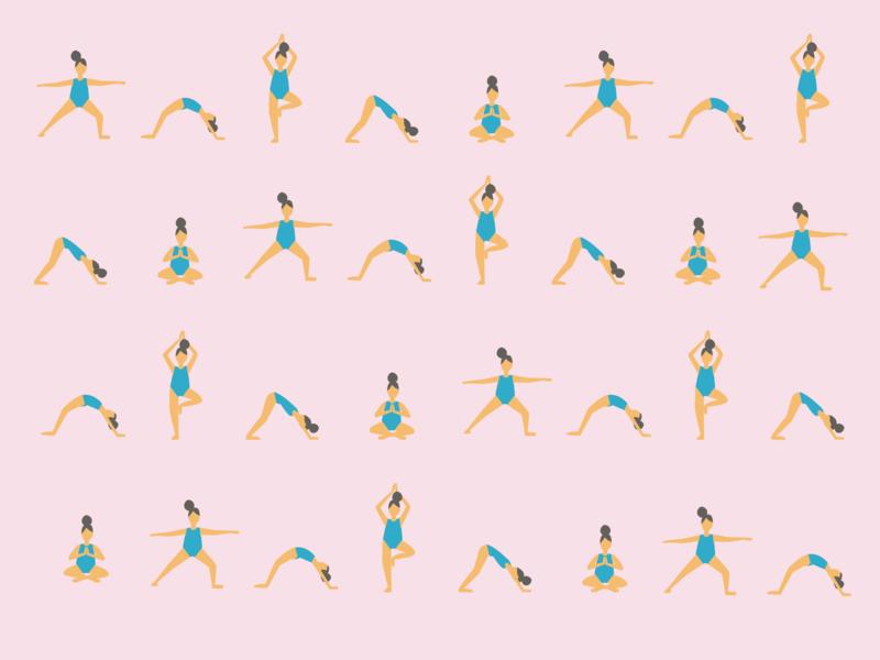 Yoga girl flat illustration pattern affinity designer vector illustration pattern poster pastel colors yoga design illustration