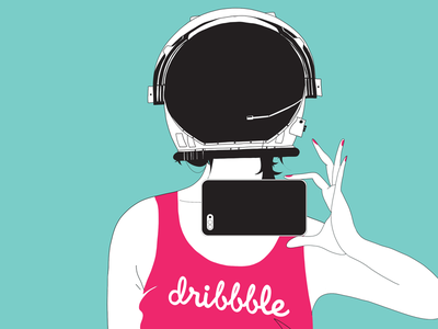 👩‍🚀 Dribbble Invite!  pink dribbble giveaway invitation invite invites astronaut girl ticket draft