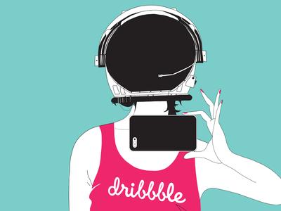 👩🚀 Dribbble Invite!  pink dribbble giveaway invitation invite invites astronaut girl ticket draft