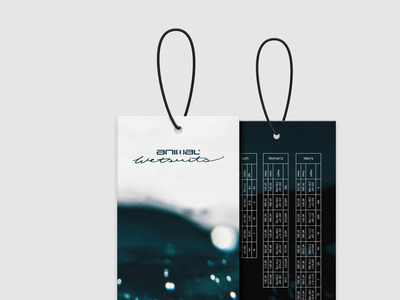 Wetsuit Swing Tags typography type pos wetsuit fashion retail swing tag design graphic design