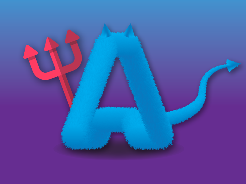 Furry evil design fun colorful adobe lettering 3d