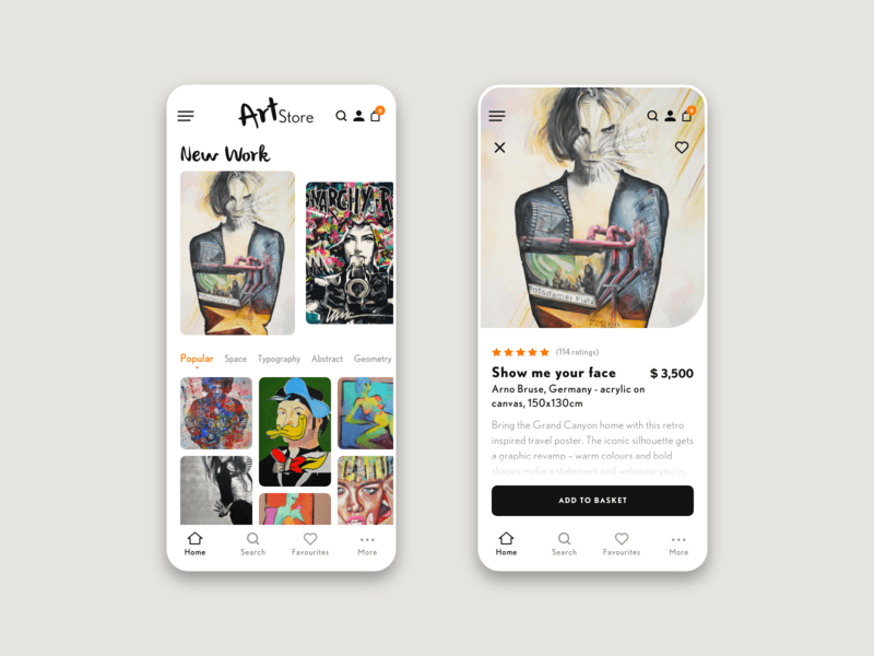 Art store app - light mode webshop light mode art gallery art ios app application design user interface design user experience design app design ux ui ui ux design interaction design adobe xd