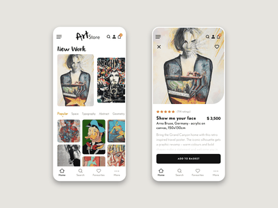 Art store app - light mode webshop light mode art gallery art ios app application design user interface design user experience design app design ux ui ui ux design interaction design adobe xd