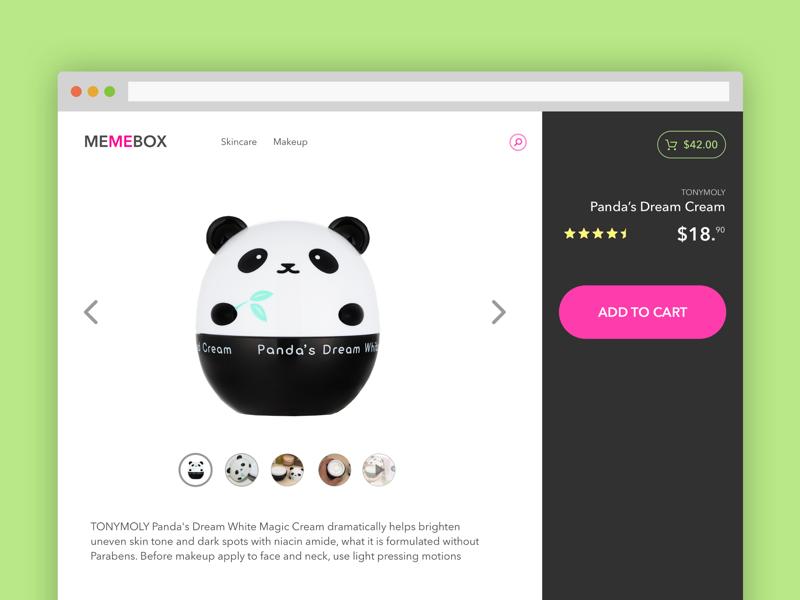 Ecommerce Product Page Experiment panda cart cream skincare cosmetics shop product ecommerce