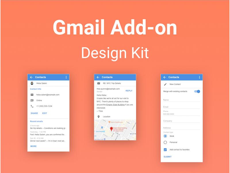 Gmail Addon Design Kit sketch library design system google g suite design kit addon gmail
