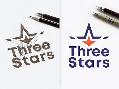 Three Stars Design Logo tree stars inspiration vectors vectorgraphics drawinglogo design handmade brand handdrawn logodesign logo graphicdesign brainyworksgraphics