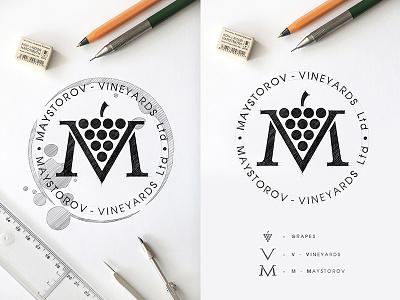 MAYSTOROV VINEYARDS Ltd.  Design Logo logo design typography drawinglogo design handmade brand handdrawn logodesign logo graphicdesign brainyworksgraphics