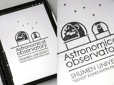 Astronomical Observatory Design Logo typogaphy branding drawinglogo drawing design handmade brand handdrawn logodesign inspiration logo graphicdesign brainyworksgraphics
