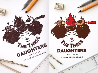 The Three DAUGHTERS - GRILL&RESTAURANT  Design Logo